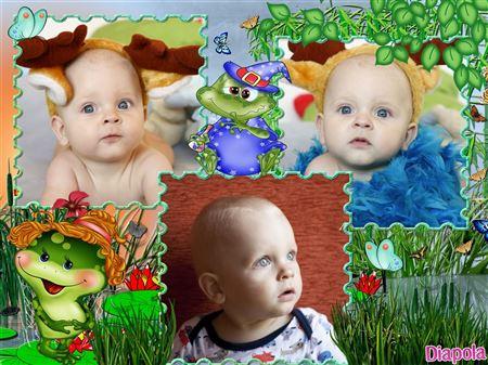 Fabuleux Montage photo Cadre photo enfant grenouilles avec Diapola AZ17