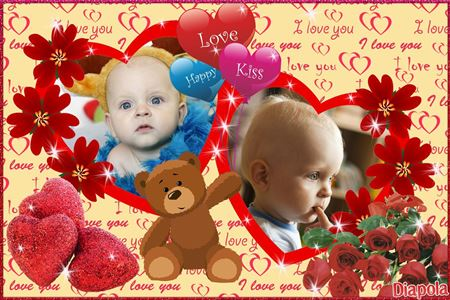 Montage photo Double cœur enfant