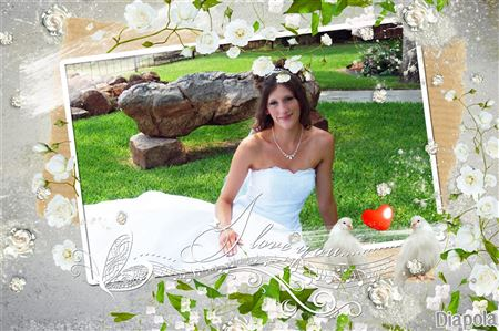 montage photo mariage cadre roses blanches avec diapola. Black Bedroom Furniture Sets. Home Design Ideas